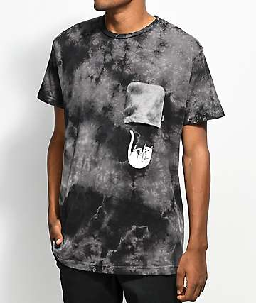 RipNDip Falling For Nermal Black Tie Dye Pocket T-Shirt