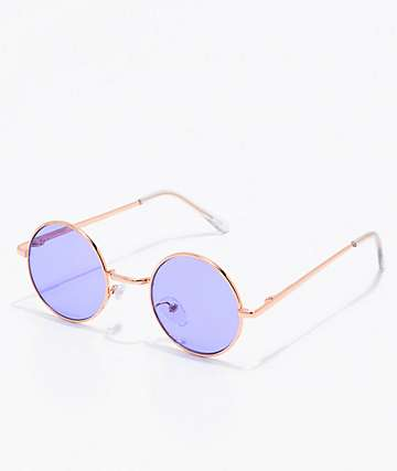 Rose Gold & Purple Round Sunglasses