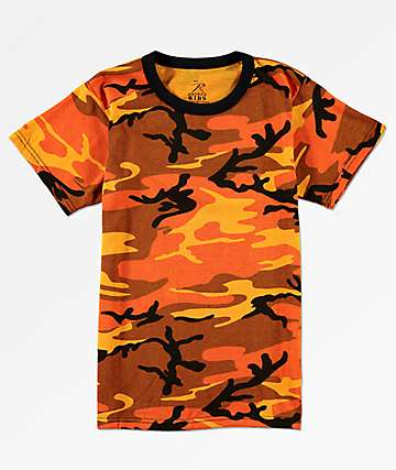Rothco Boys Savage Orange Camo T-Shirt