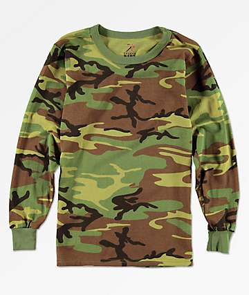 Rothco Boys Woodland Camo Long Sleeve T-Shirt