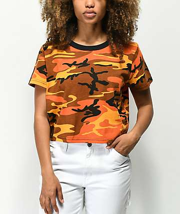Rothco Orange Camo Crop T-Shirt