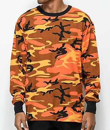 Rothco Savage camiseta de manga larga de camuflaje naranja