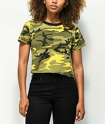 Rothco Yellow Camo Crop T-Shirt