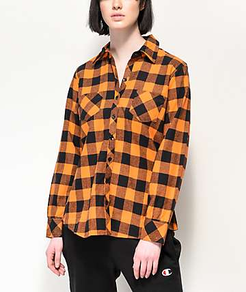 Rothco camisa de franela de tartán naranja