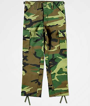 Rothco pantalones de carga de camuflaje verde para niños