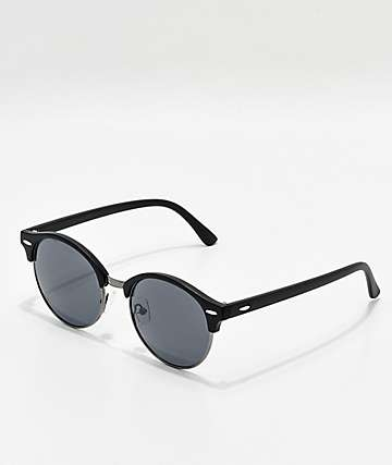 Round Black Clubmaster Sunglasses