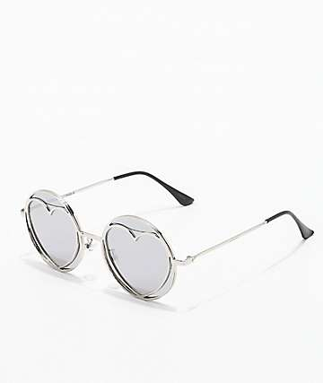 Round Heart Silver Mirror Sunglasses