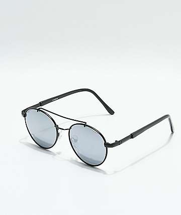 Round Matte Black & Silver Mirror Sunglasses