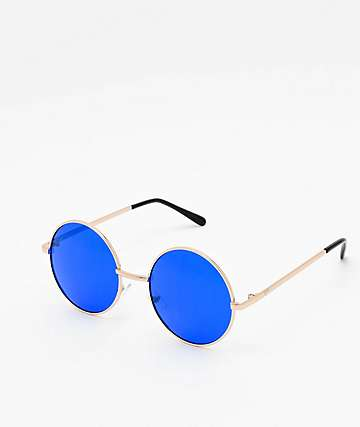 Rounds Gold & Blue Sunglasses