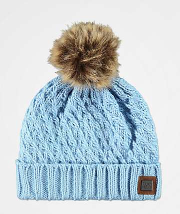 Roxy Blizzard Powder Blue Pom Beanie
