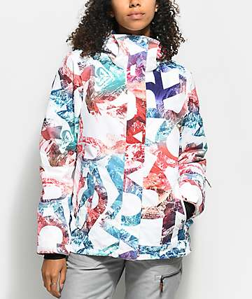 Roxy Jetty White Mountain Typo 10K Snowboard Jacket
