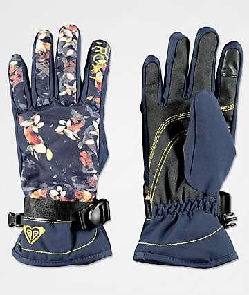Roxy Jetty guantes de snowboard azul marino de flores