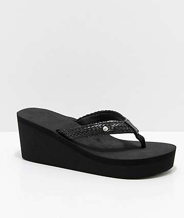 Roxy Mellie Black Wedge Sandals