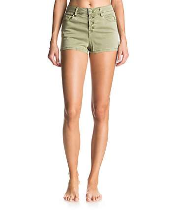 Roxy Mission To Glory Oil Green High Waisted Shorts
