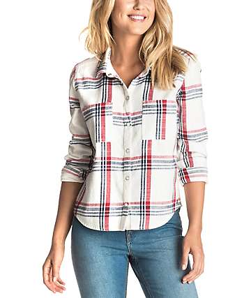Roxy Plaid Party White Long Sleeve Shirt