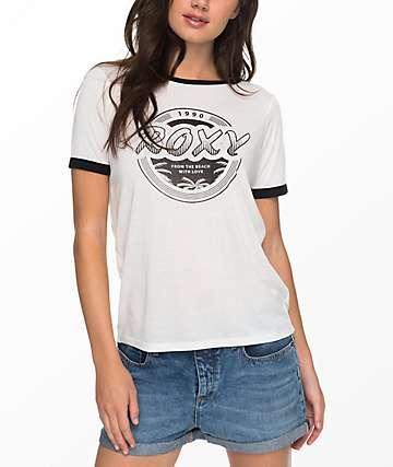 Roxy Puerto Pic 1990 White Ringer T-Shirt