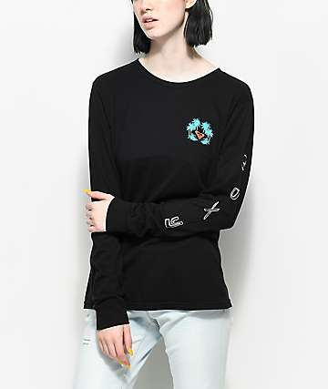 Roxy Radical Checkers Black Long Sleeve T-Shirt