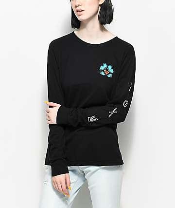 Roxy Radical Checkers camiseta negra de manga larga