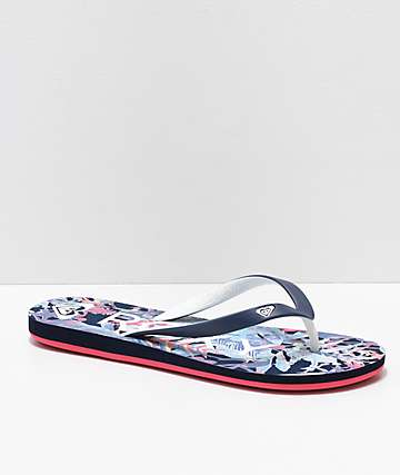Roxy Tahiti Floral Blue Sandals