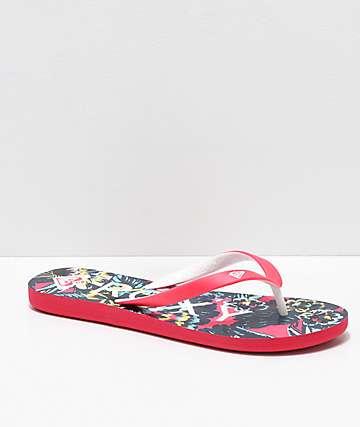 Roxy Tahiti Floral Pink Sandals