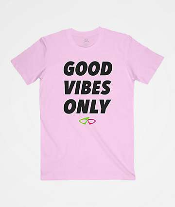 Roy Purdy Good Vibes Only Pink T-Shirt