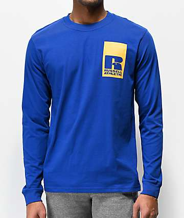 Russell Athletic Leandro Blue & Yellow Long Sleeve T-Shirt