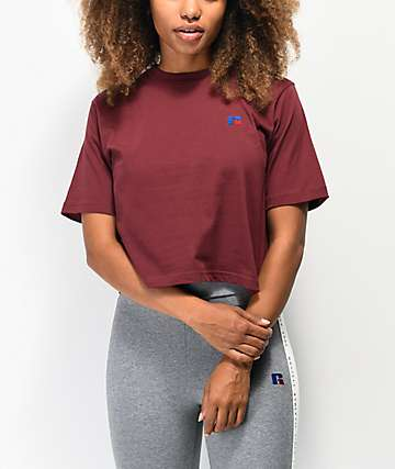 Russell Athletic Olivia Burgundy Crop T-Shirt