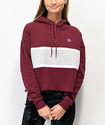 Russell Athletic Sarah Maroon & Grey Crop Hoodie
