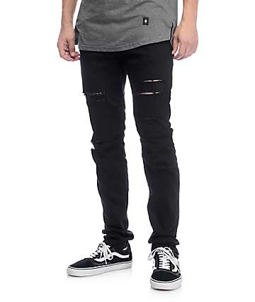 Rustic Dime Biker Black Shredded Jeans