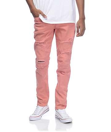Rustic Dime Biker Coral Shredded Jeans
