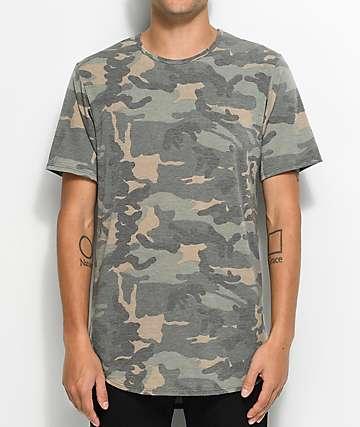 Rustic Dime Camo camiseta alargada de terry