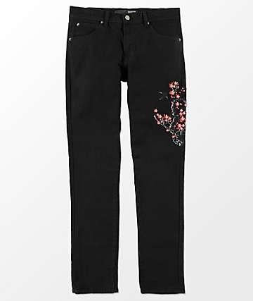 Rustic Dime Cherry Blossom jeans negros con bordados