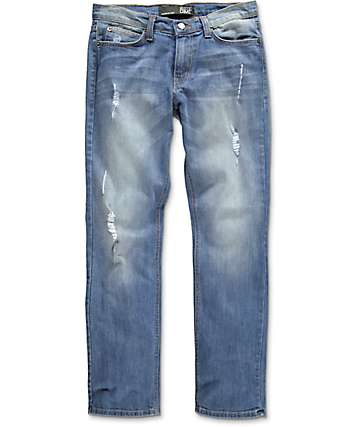 Rustic Dime Destroyed Washed Indigo Denim Jeans