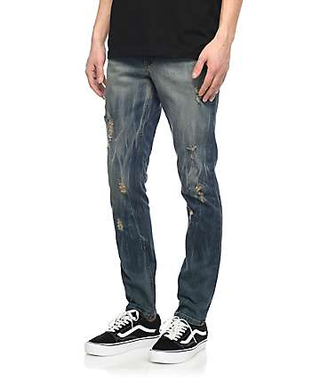 Rustic Dime Frontier Dirty Destructed Tapered Denim Jeans