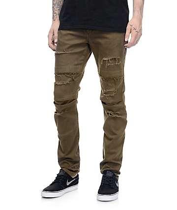 Rustic Dime Knee Seam pantalones rotos en color verde olivo