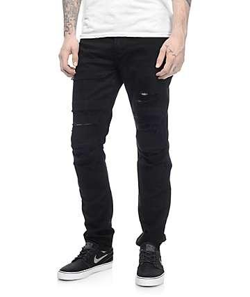 Rustic Dime Knee Seam pantalones rotos en negro