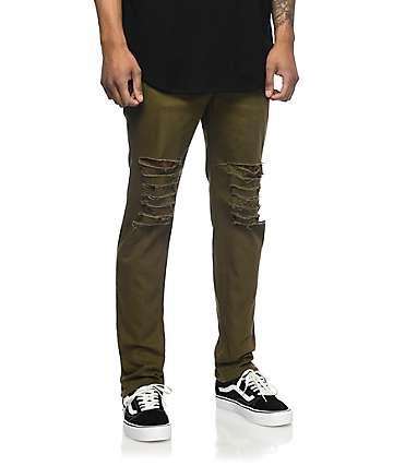 Rustic Dime Krueger Olive Slashed Jeans