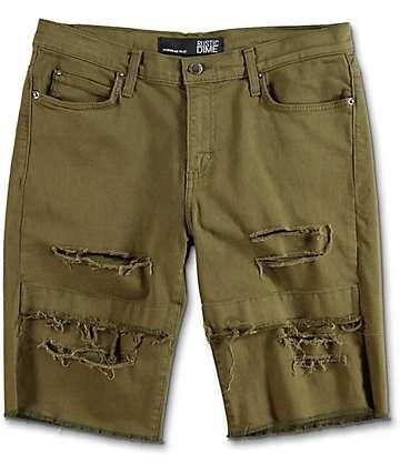 Rustic Dime Olive Destructed Denim Shorts