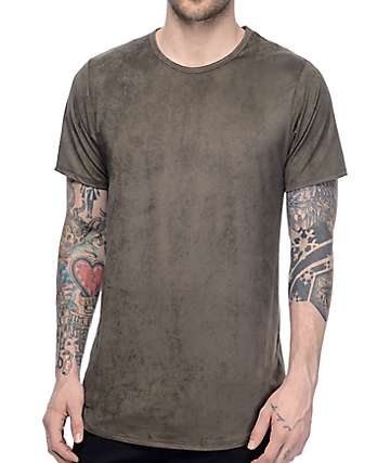 Rustic Dime Olive Suede Long T-Shirt