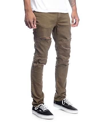 Rustic Dime Shredded Bike jeans en color olivo