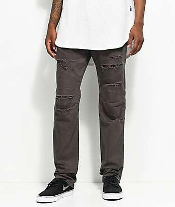 Rustic Dime Shredded Biker Charcoal Jeans