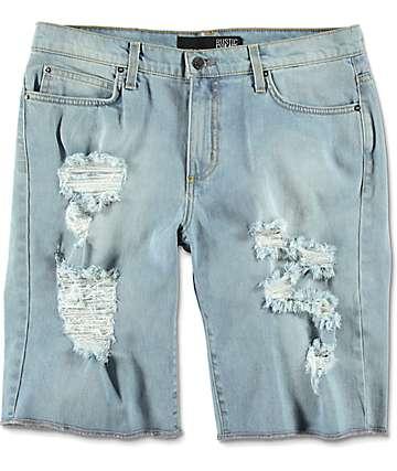 Rustic Dime Shredded Denim Light Wash Destructed Shorts