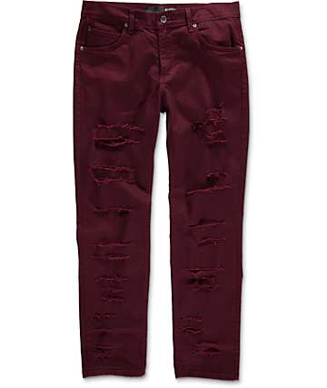 Rustic Dime Shredded Taper Fit Burgundy Denim Jeans