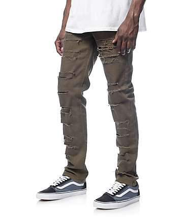 Rustic Dime Shredded Taper Fit Olive Jeans