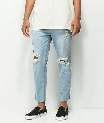 Rustic Dime Sky Crop Light Blue Jeans