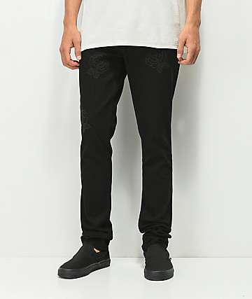 Rustic Dime Tonal Embroidery Black Jeans