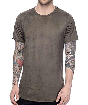 Rustic Dime camiseta alargada de ante en color olivo