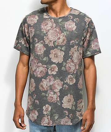 Rustic Dime camiseta negra floral alargada