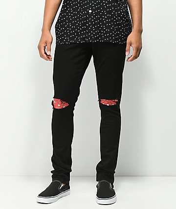Rustic Dime jeans negros con parches de cachemir