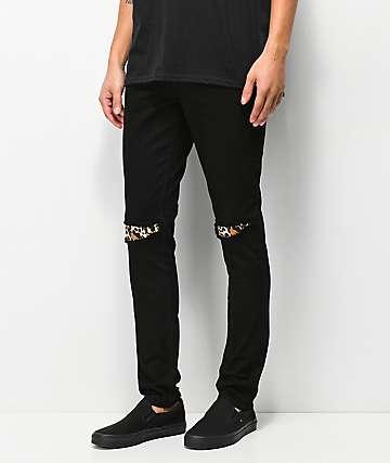Rustic Dime jeans negros con parches de leopardo